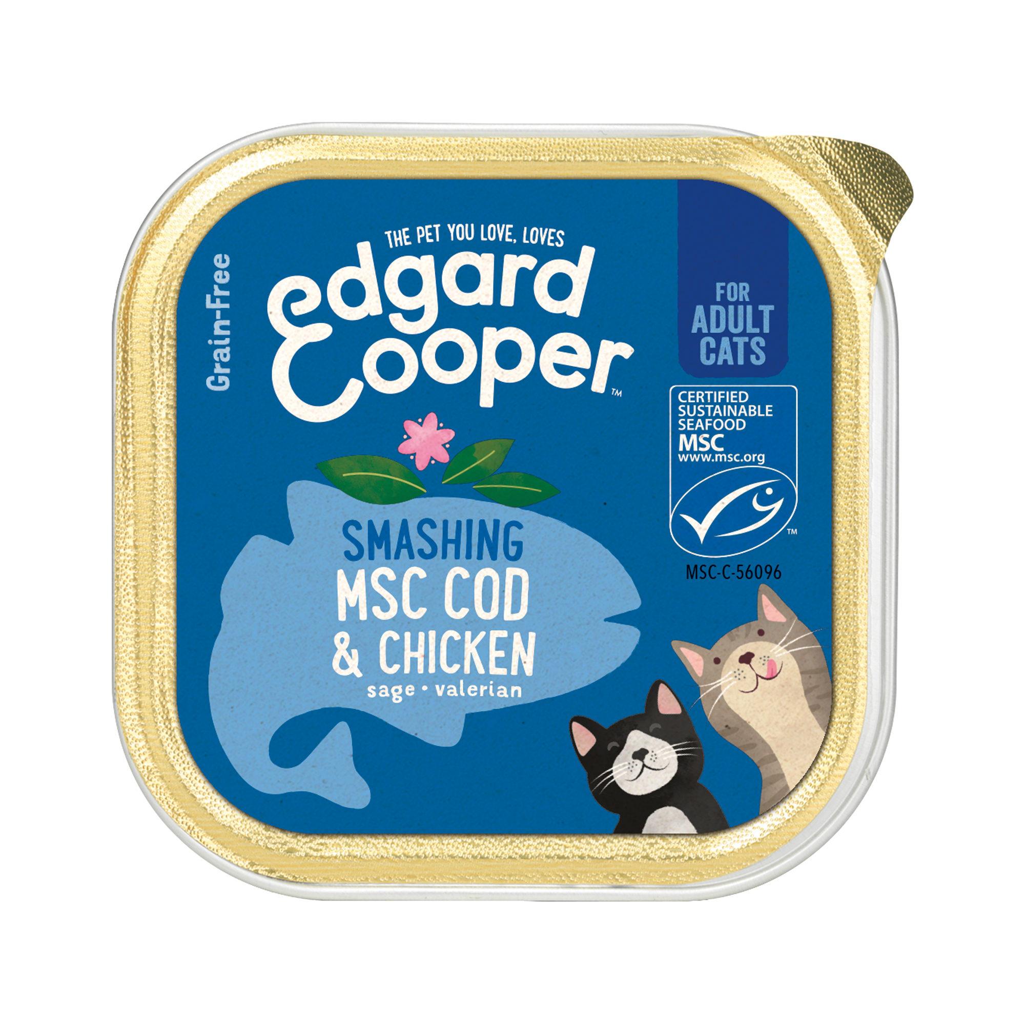 Edgard & Cooper Adult Katzenfutter - Schälchen - MSC Kabeljau & Huhn