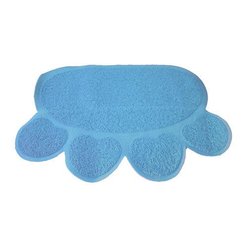 Boon - Tapis de bac à litière pour chat - Patte - Bleu clair