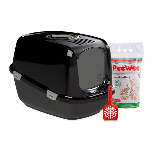 PeeWee EcoDome - Bac à litière pour chat - Kit de démarrage - Noir