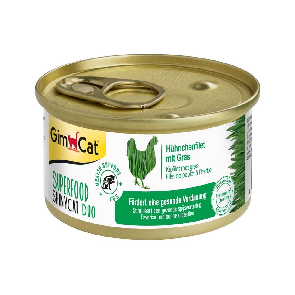 GimCat Superfood ShinyCat Duo Katzenfutter - Dosen - Hühnerfilet & Gras