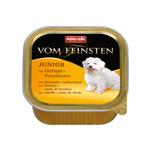Animonda vom Feinsten Junior Hundefutter - Schälchen - Geflügel/Putenherzen - 22 x 150 g