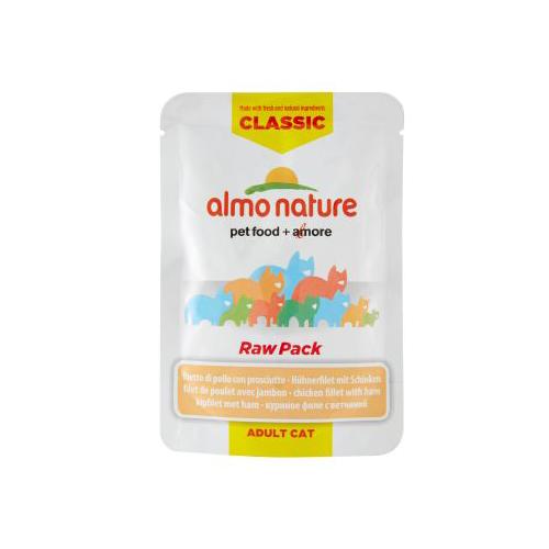 Almo Nature HFC Raw Pack Hundefutter - Frischebeutel - Huhn & Schinken - 24 x 55 g