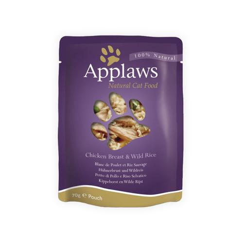 Applaws in Broth Katzenfutter - Frischebeutel - Chicken Breast & Wild Rice - 12 x 70 g