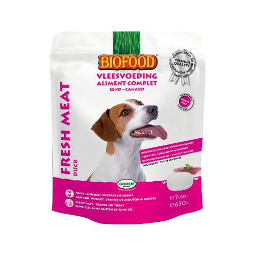 Biofood Frischfleisch Hundefutter - Frischebeutel - Ente - 7 x 90 g