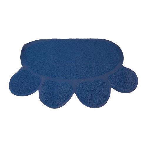 Boon - Tapis de bac à litière pour chat - Patte - Bleu foncé