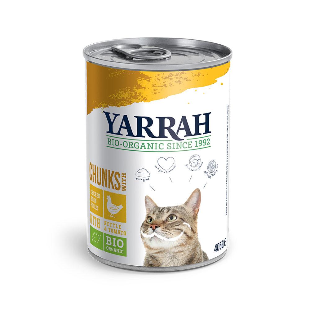 Yarrah Bio Chunks Katzenfutter - Dosen - Huhn mit Brennnessel und Tomate