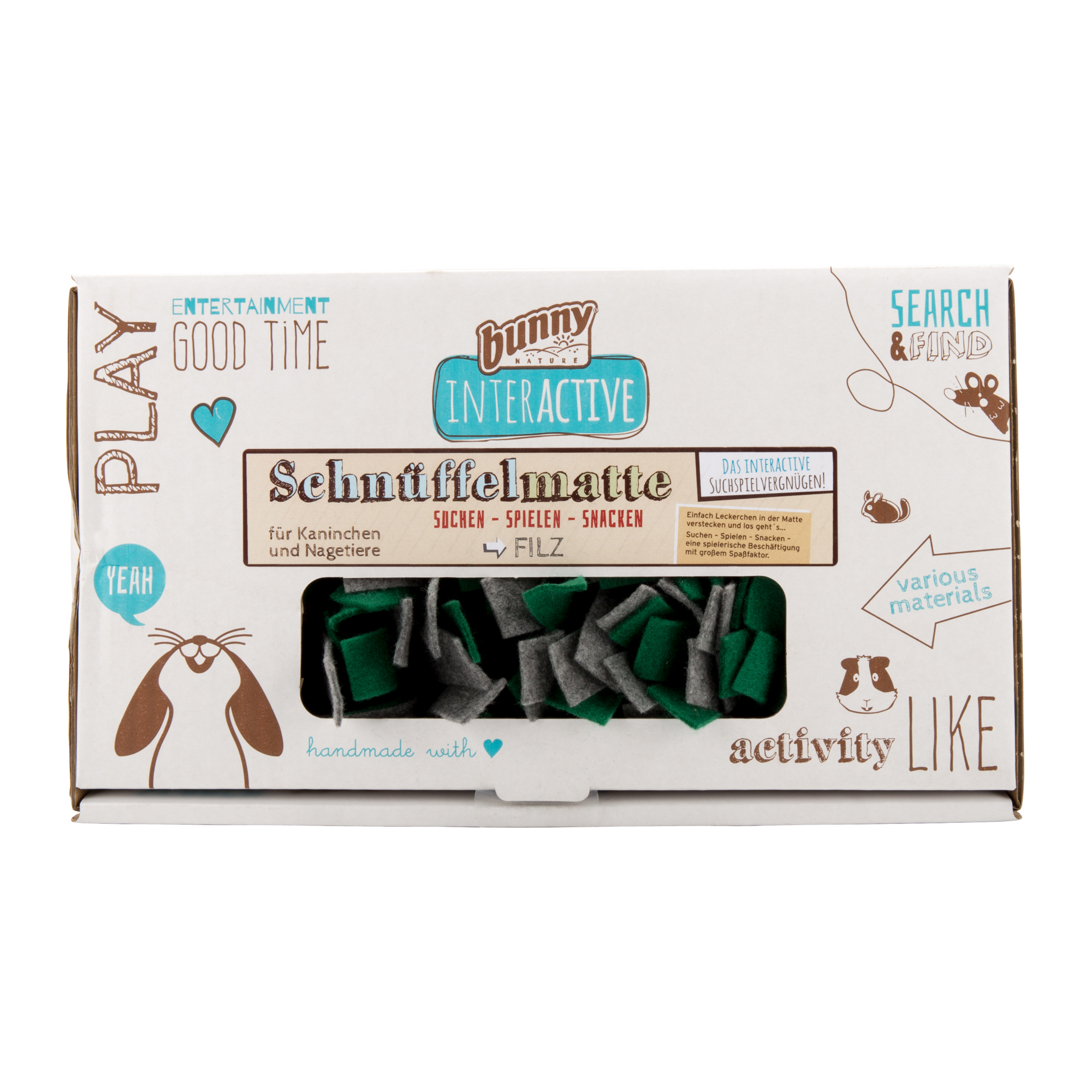 Bunny Nature Schnüffelmatte Filz - Grau / Grün