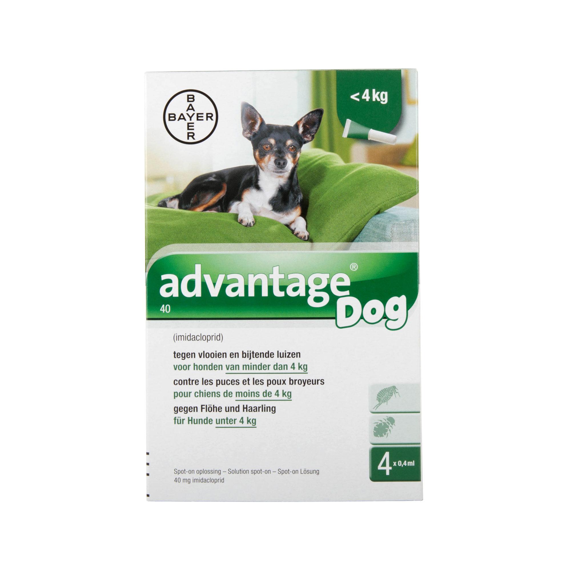 Advantage 40 Hund - bis zu 4 kg - 4 x 0,4 ml