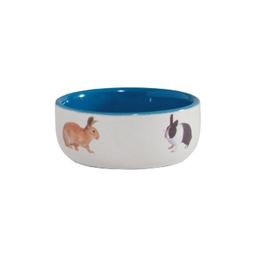 Beeztees Futternapf für Kaninchen aus Keramik - Blau