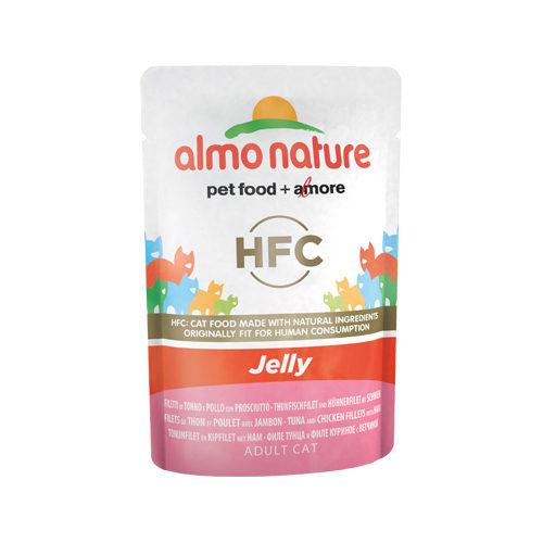 Almo Nature HFC Jelly Katzenfutter - Frischebeutel - Thunfisch, Huhn & Schinken - 24 x 55 g