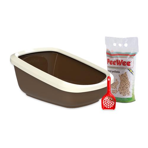 PeeWee EcoGranda - Bac à litière pour chat - Kit de démarrage - Marron
