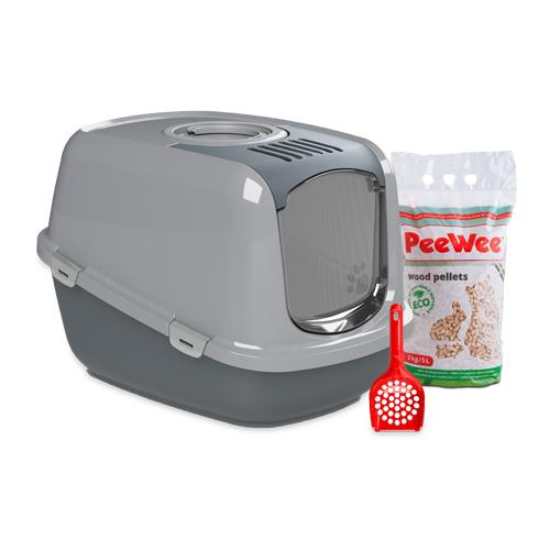 PeeWee EcoDome Katzentoilette Starter-Paket - Grau