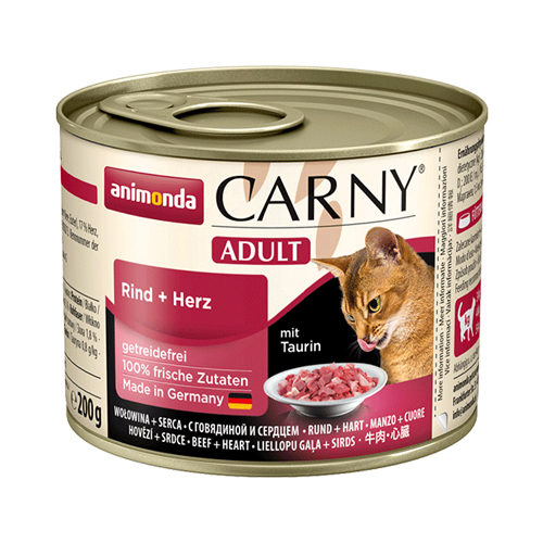 Animonda Carny Adult Katzenfutter - Dosen - Rind & Herz - 6 x 200 g
