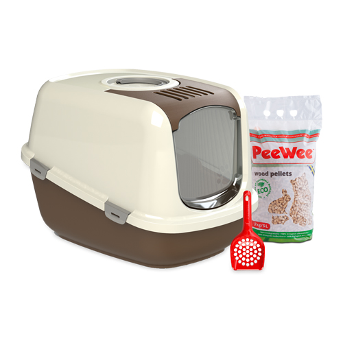 PeeWee EcoDome - Bac à litière pour chat - Kit de démarrage - Marron