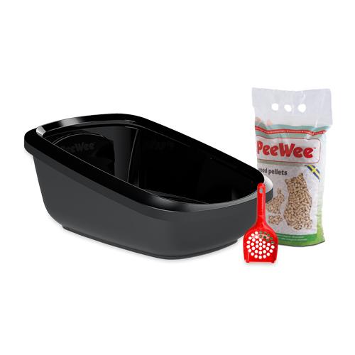PeeWee EcoGranda - Bac à litière pour chat - Kit de démarrage - Noir
