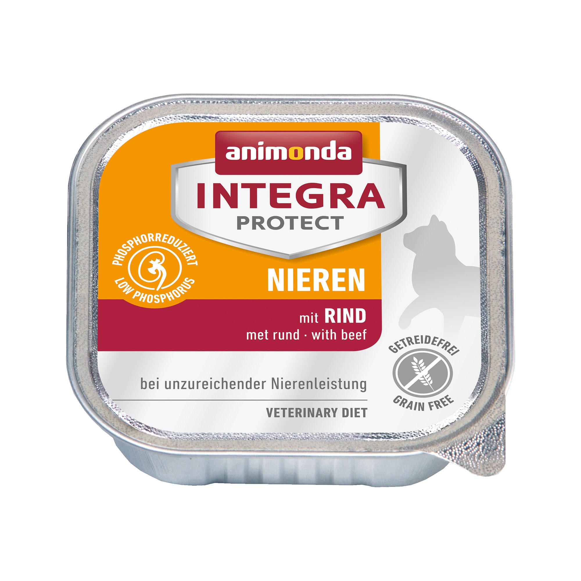 Animonda Integra Protect Nieren Katzenfutter - Schälchen - Rind - 16 x 100 g