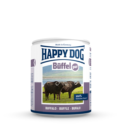 Happy Dog Pur Hundefutter - Dosen - Buffel