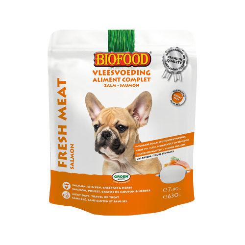 Biofood Frischfleisch Hundefutter - Frischebeutel - Lachs - 7 x 90 g