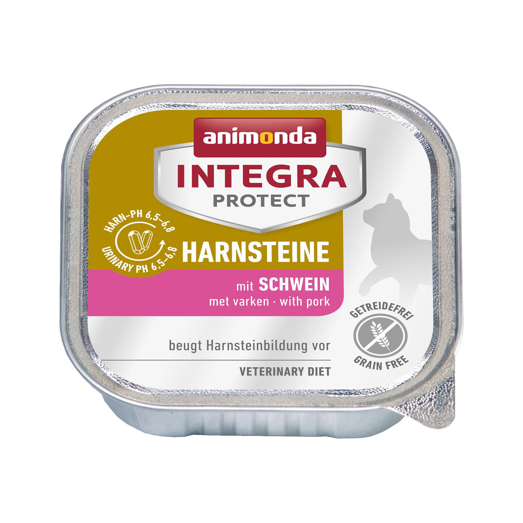 Animonda Integra Protect Harnsteine Katzenfutter - Schälchen - Schwein - 16 x 100 g