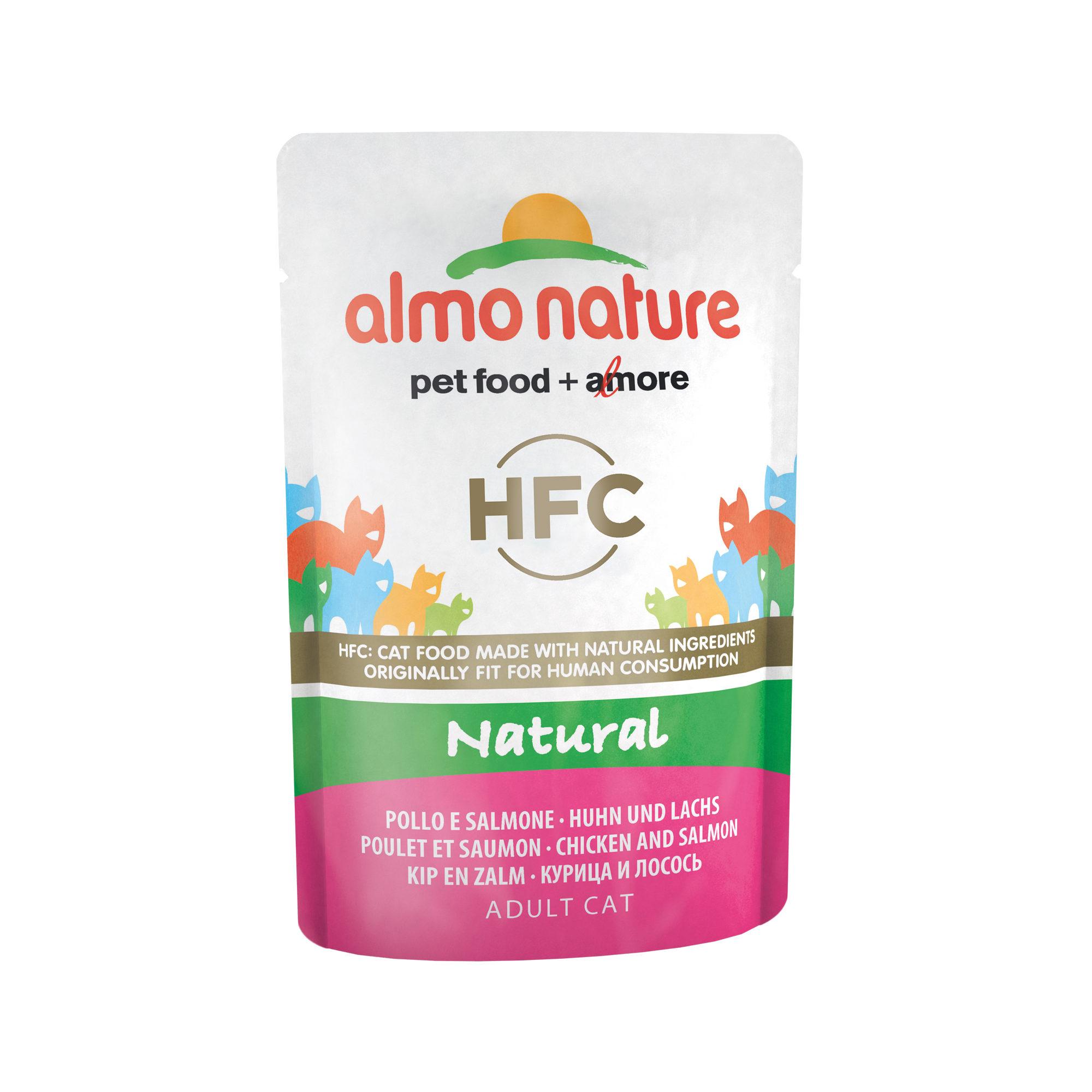 Almo Nature HFC Natural Katzenfutter - Dosen - Huhn & Lachs - 24 x 55 g