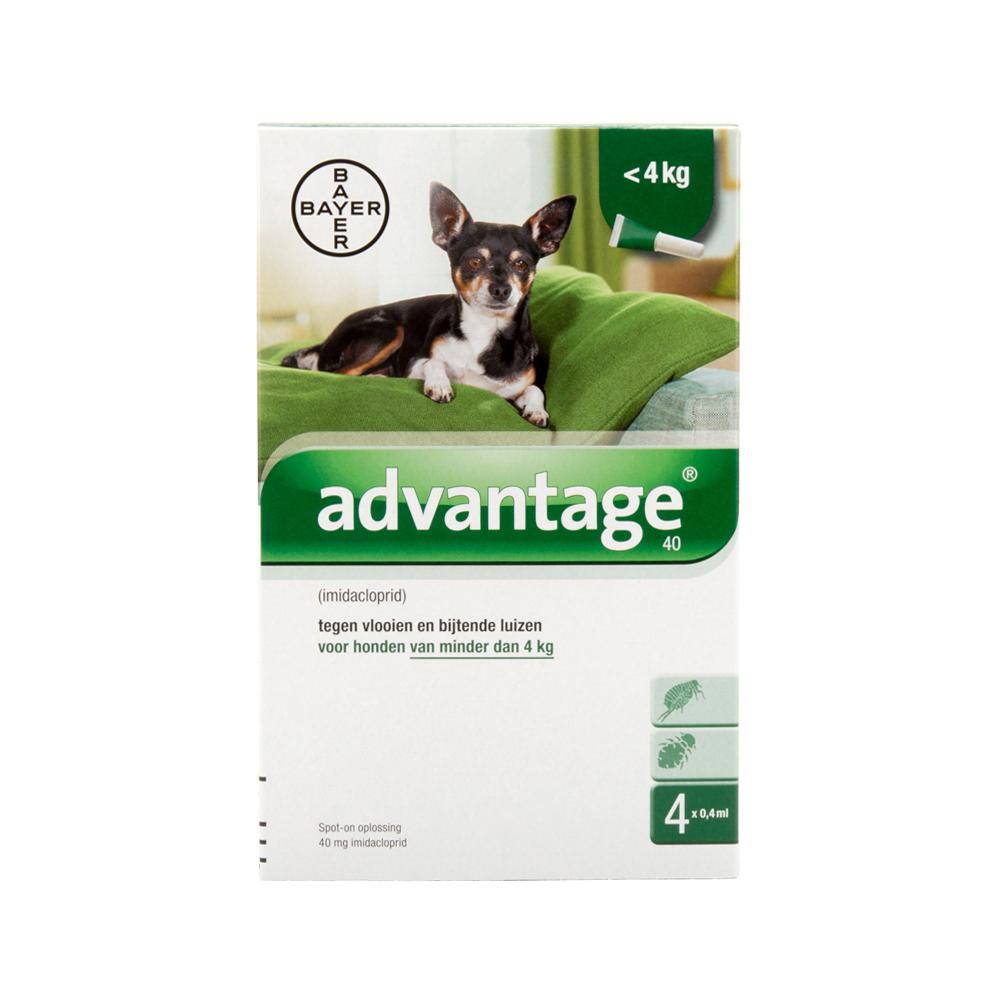 Advantage 40 (Chiens <4 kg) - 4 pipettes de 0,4 ml