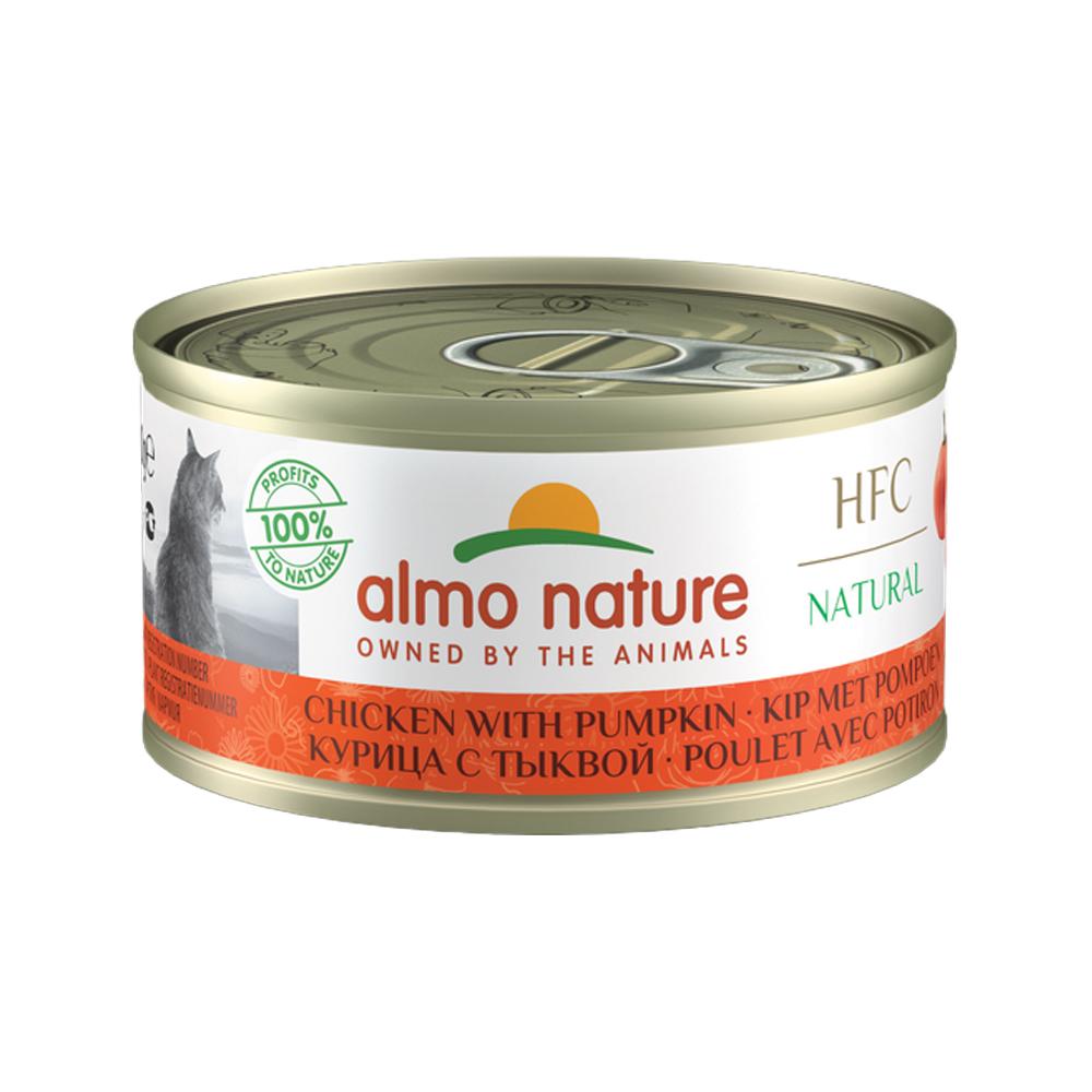 Almo Nature HFC 70 Natural Katzenfutter - Dosen - Huhn & Kürbis - 24 x 70 g