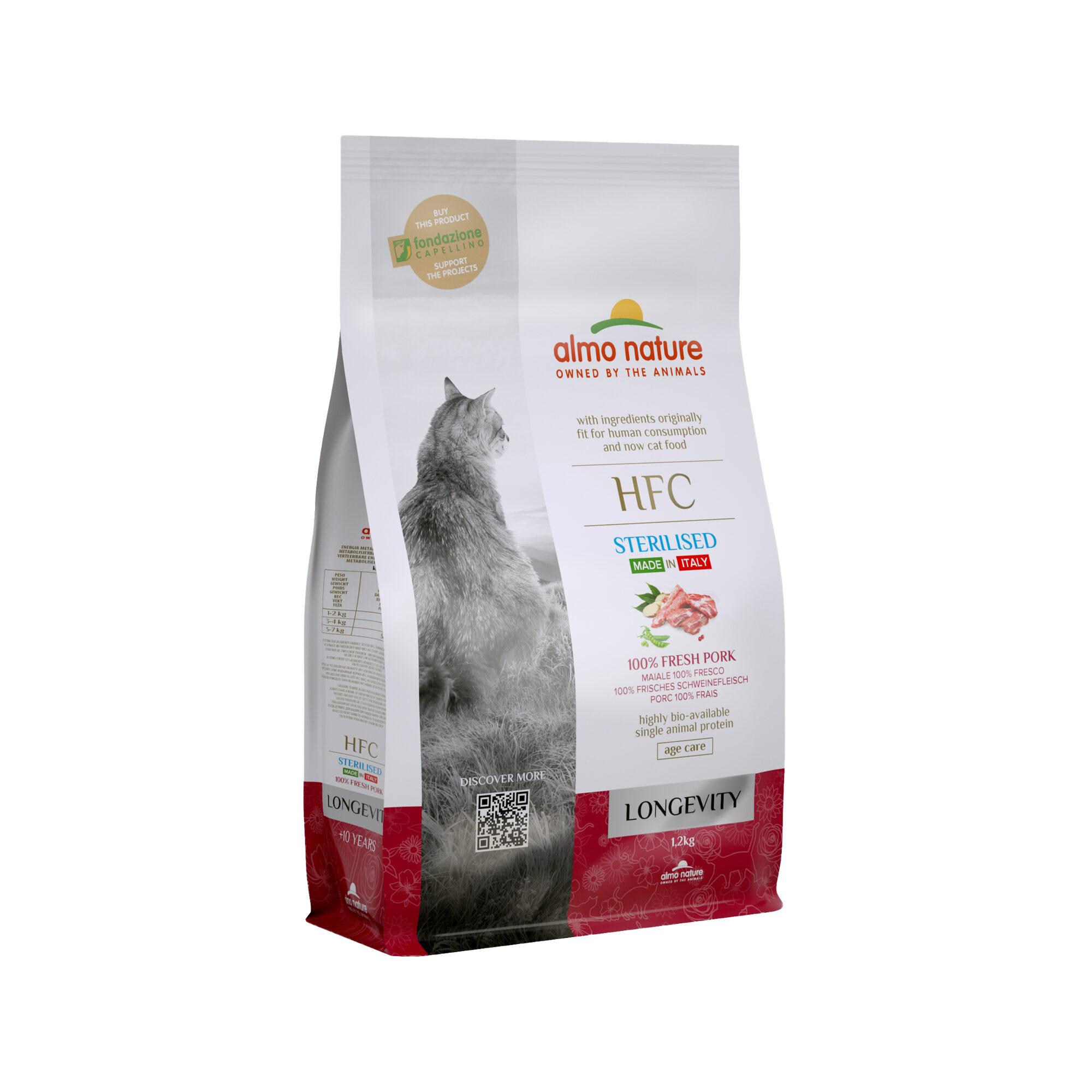 Almo Nature HFC Longevity Sterilised Katzenfutter - Schwein - 1,2 kg