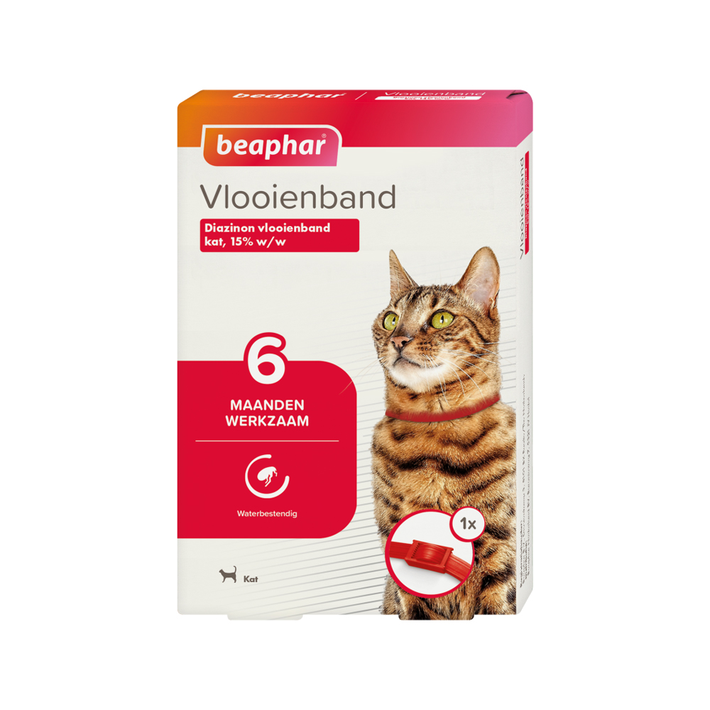 Beaphar - Collier anti puce pour chat - 6 mois - Rouge
