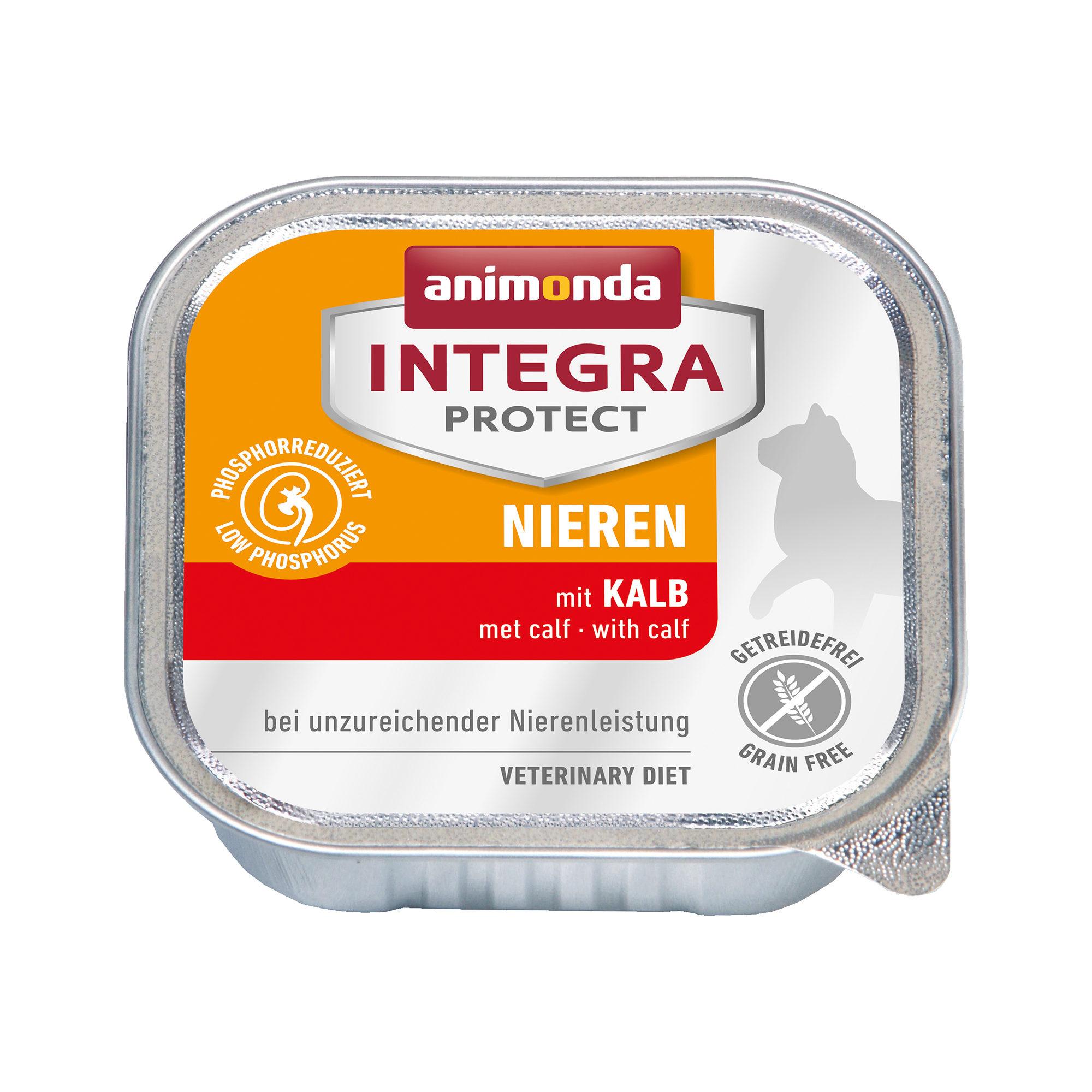 Animonda Integra Protect Nieren Katzenfutter - Schälchen - Kalb - 16 x 100 g