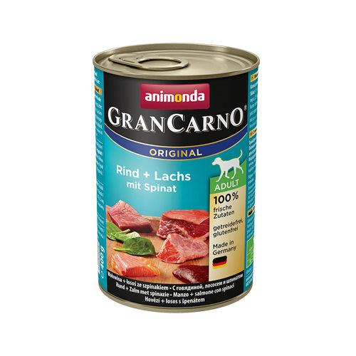 Animonda GranCarno Original Adult Hundefutter - Dosen - Rind, Lachs & Spinat - 6 x 400 g