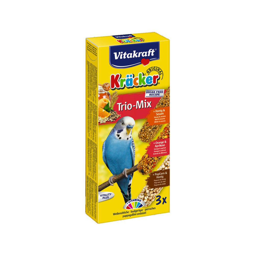 Vitakraft Kräcker Trio-Mix - Perruche ondulée - Miel, orange et maïs soufflé