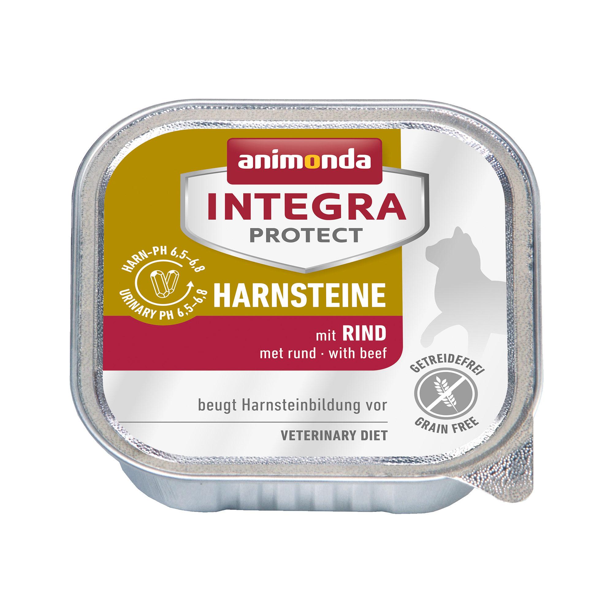 Animonda Integra Protect Harnsteine Katzenfutter - Schälchen - Rind - 16 x 100 g