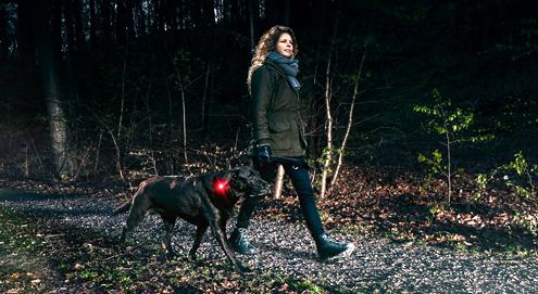 Frau mit Hund im Dunkeln